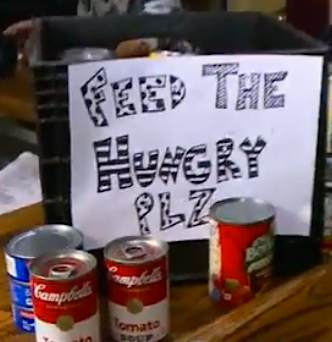 Feed the hungry sign-WKYCvid
