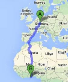 Map-Frankfurt to Ghana
