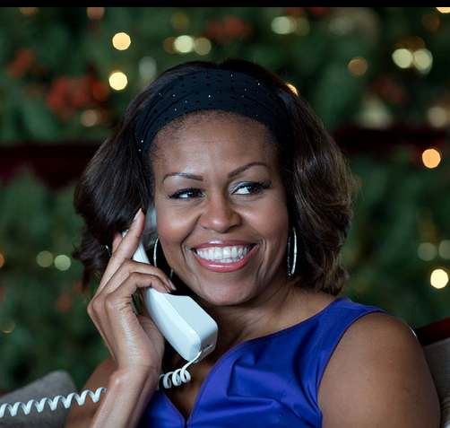 Michelle Obama on the phone