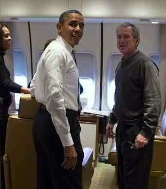 Obama and George W. on AirForce 1