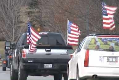 flagged cars in Wreaths across America-WCSHvid