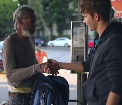 homeless gets gift