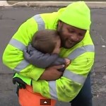 trash man hugs boy