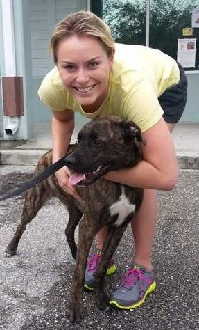 Lindsey Vonn with shelter dog-Twitpic-WPBF