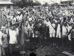 POWs_celebrate-rescue-from-Cabanatuan prison camp WWII Pacific