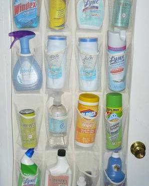 cleaning products hang on door-socialmediaphoto