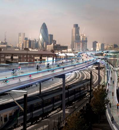 cycling-utopia-above-London-railways skycycle-rendering