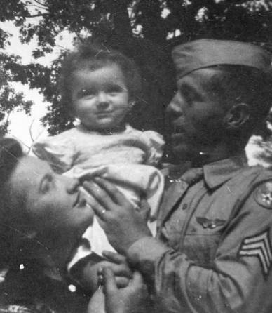 soldier home from WWII w Margaret Ann Wolf Harris-familyphoto
