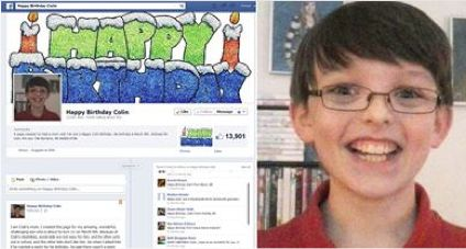 Facebook birthday page for Colin