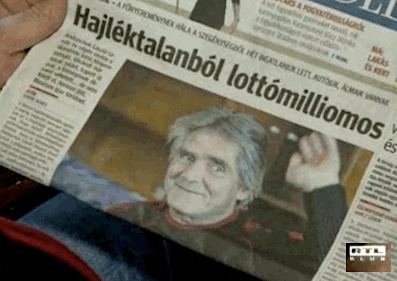 headline in Hungarian paper lottery winner
