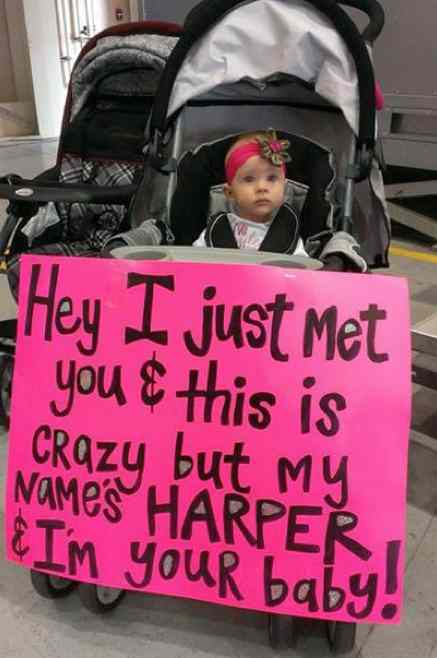 baby poster welcomes dad home with pop verse