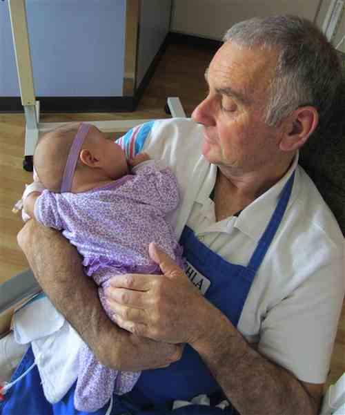 cuddling babies at hospital-Childrens Hospital Los Angeles