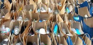 gift bags for homeless lined up