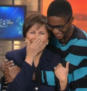 surprised anchor Gloria Campos and adopted Keonte-WFAA