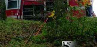 Rescue trucks ropes down ravine-KTVU