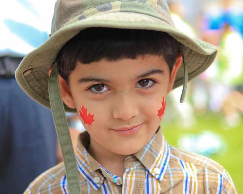 Canada-maple-leaves-on-boys-face-cc-Anirudh_Koul