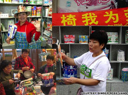 Green-housewives-recycle-in-China-family-photo