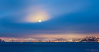 July 12 moon over SanFrancisco Bay by David Yu