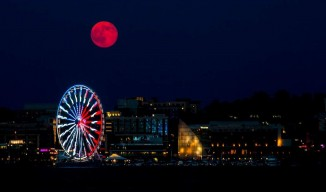 Supermoon over National Harbor, Washington, DC by Victoria Pickering