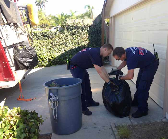 City-of-Santa-Barbara-Fire-Department-Does-Yardwork-for-elderly-lady-who-fell-permission