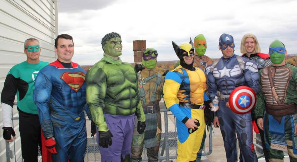 Superhero cops in costumes ProMidicaToledoChildrensHospital