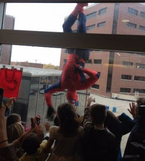 spiderman-repels-hospital-window-ProMedicaToledoChildrensHospital