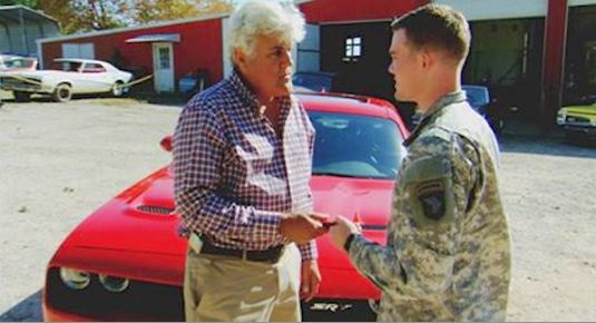 Jay Leno gives soldier a hot car-TODAYvid