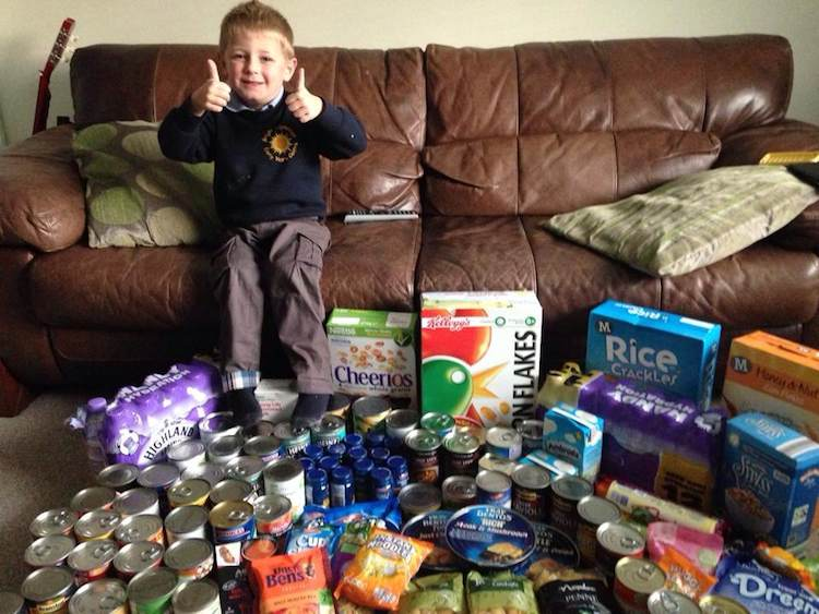 4yo boy collects food for bday NorthAyrshireFoodbank