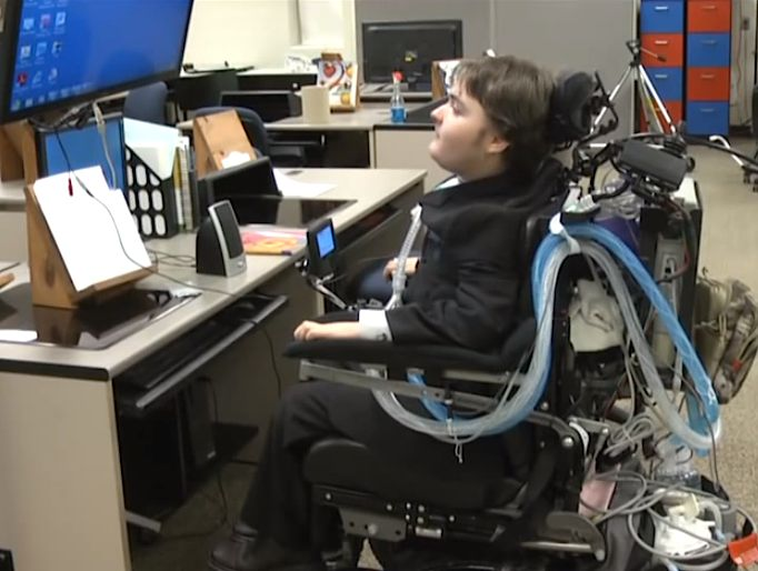 Dominic Bergfield in wheelchair writes novel as quadriplegic