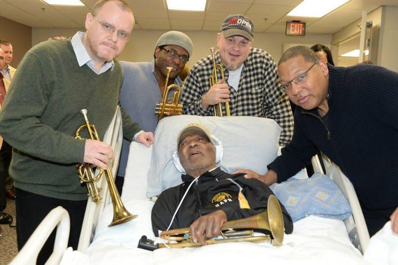 trumpet section visits Clark Terry-PhotobyFrankStewart