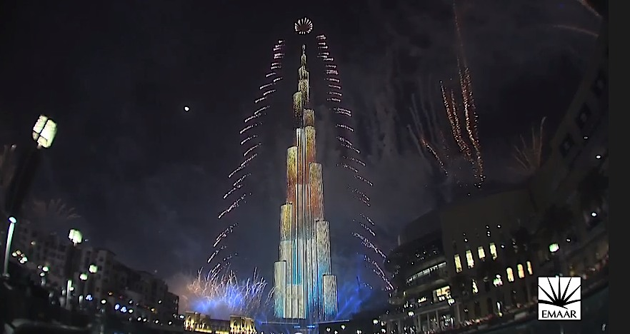 Dubai-New-Years-LED tower