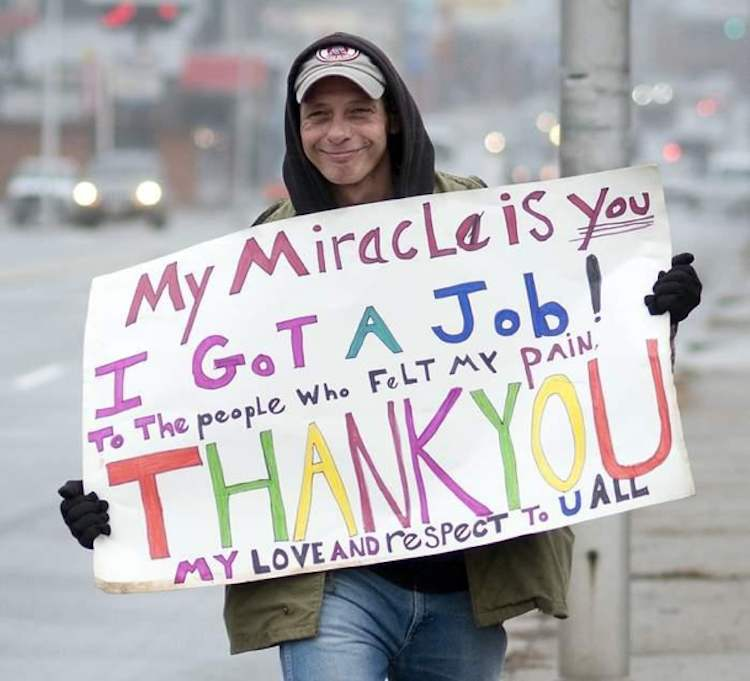 Panhandler thanks community after securing a job