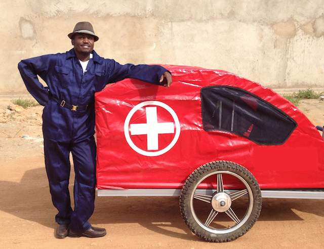 Christopher Ategeka-Ambulance-cart-RidesForLives