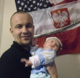 Ollis family photo Polish baby tribute to fallen hero