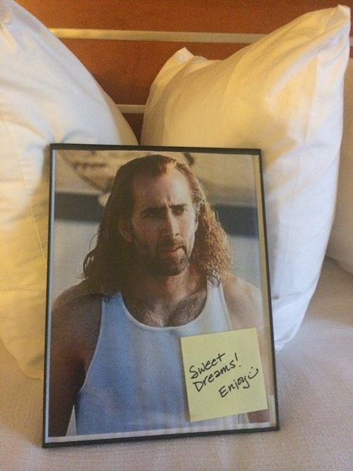 Hotel Indigo delivers Nic Cage photo on pillow
