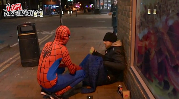 spiderman feeds homeless-IamBirmingham-YouTube
