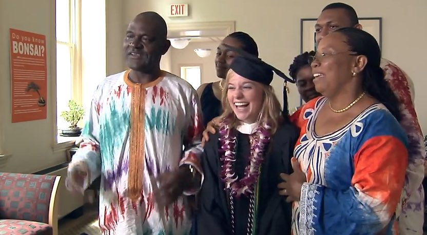 Dickinson college grad flies Cameroon host family for ceremony-Youtube-submitted