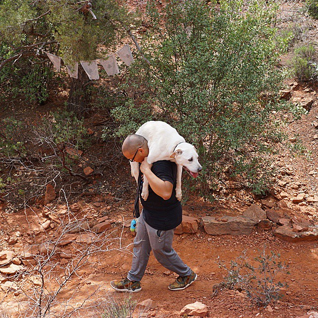 Poh gets a lift from Dad, Neil, in Sedona.