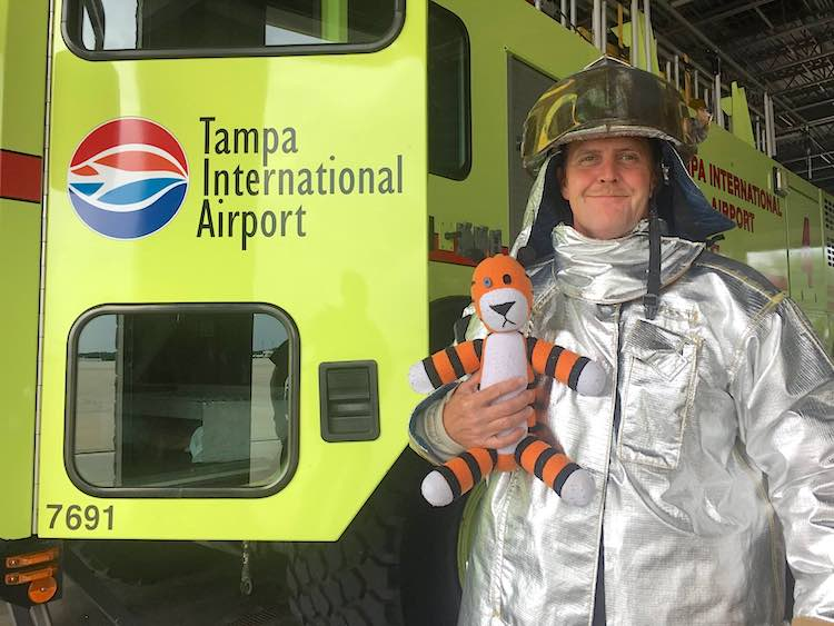 Hobbes stuffed tiger fire truck Tampa Airport