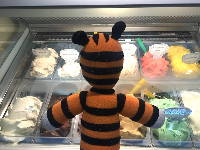 Hobbes-stuffed tiger food bar Tampa Airport FB photo