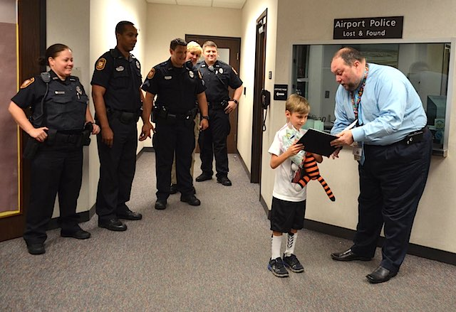 Hobbes stuffed tiger returned Tampa Airport FB Page