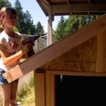 Little girl builds mobile shelter holding drill screenshot youtube
