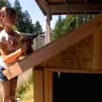 Little girl builds mobile shelter holding drill screenshot youtube