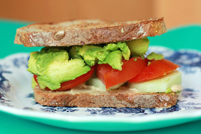 avocado tomato sandwich-SweetOnVeg