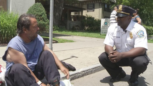 buffalo police chief with homeless - WBZ