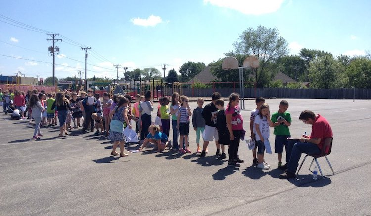 line of students for janitor-FB-BourbonnaisElementarySchoolDistrict#53