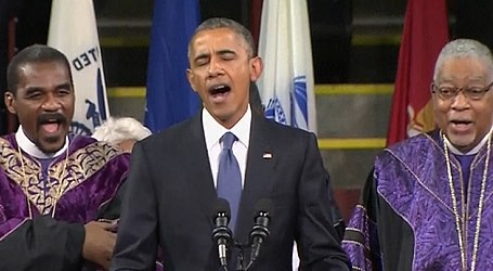 Watch Obama Sing Amazing Grace at Pastor's Funeral
