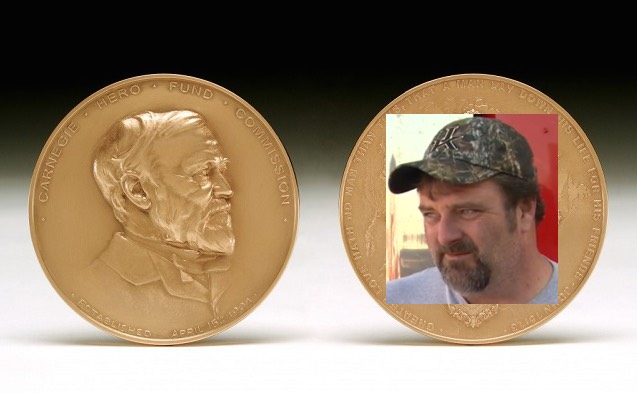 Carnegie-Medal with hero face pasted