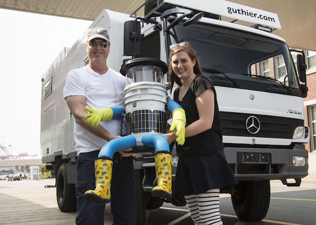 hitchBOT with hitchBOT creators David Harris Smith and Frauke Zeller