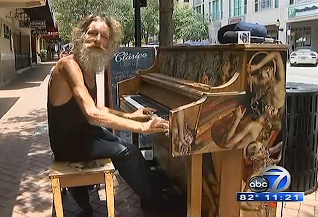 Homeless piano player Donald Gould screenshot WWSB
